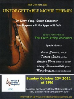 The Youth String Orchestra: Unforgettable Movie Themes -- Fall Concert 2011