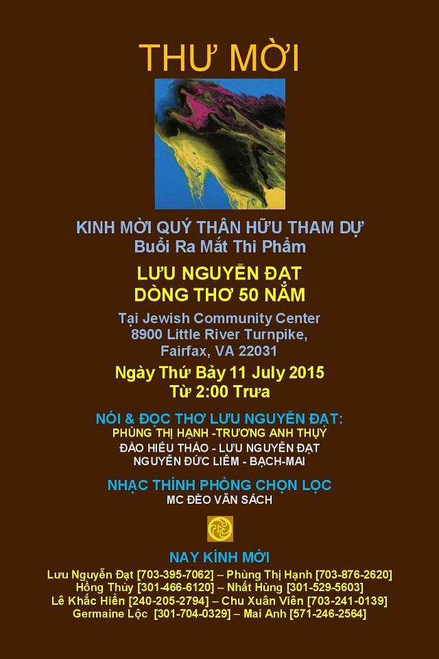 2015 JUNE 16 THƯ MỜI CCC LƯU NGUYỄN ĐẠT DT50 NĂM